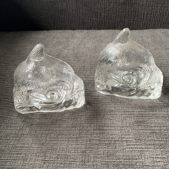 Pair retired PartyLite clear dolphin glass holders